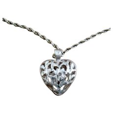 """14K Cut Work Puffy Heart Necklace Rope Chain 18"""""""