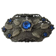 Ca 1930 Czech Filigree Pin Blue Floral Design