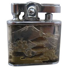 1950s Japan Sterling Damascene Cigarette Lighter Automatic Prince