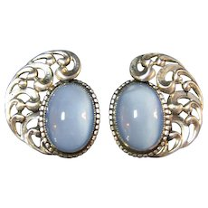Fabulous 1960s Danecraft Sterling & Faux Moonstones Clip Earrings