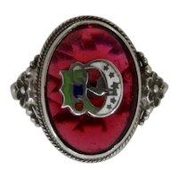 1920s Daughters of Rebekah Sterling Enamel Ring Sz 4 1/2