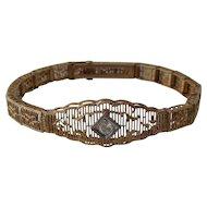 Deco 10K Yellow Gold Filigree Bracelet w/  Diamond 1920s