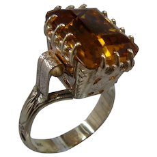 Magnificent 14K Art Deco Citrine Cocktail Ring Sz 10 1/4