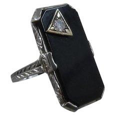 Art Deco 18K White Gold Onyx Diamond Ring Sz 3