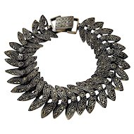 Art Deco Sterling Marcasites Butterfly Wings Bracelet 7.5""