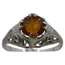 Art Deco 14K WG Citrine Filigree Ring Sz 4 3/4