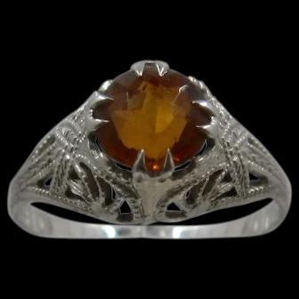 Art Deco 14K WG Citrine Filigree Ring Sz 4 3/4