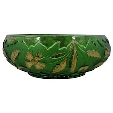 1899 U.S. Glass Delaware Low Serving Bowl Green Gilt 8""