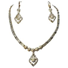 Stunning 14K Diamond Encrusted Necklace Earrings Set