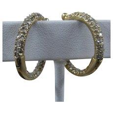 Diamond Studded 14K Gold Hoop Earrings Hinged