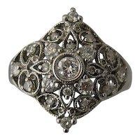 14K Square Diamond Shape Filigree Ring 1 CTW Diamonds Sz 6