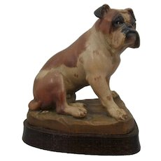 Bulldog Wood Carving Helmut Diller ANRI