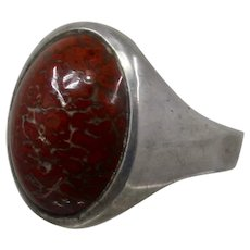 Sterling Fossilized Dinasaur Bone Cabochon Ring Sz 10