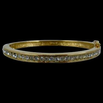 Vintage Christian Dior Hinged Bangle Bracelet w/ Crystals Sz 6 1/2