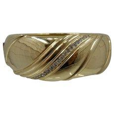 Big Vintage Christian Dior Cuff Bracelet w/ Swirls & Crystals Sz 6 3/4