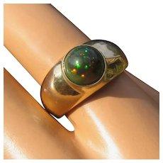 14K Domed Black Opal Ring Harlequin Pattern Size 7