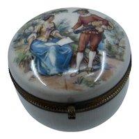 Porcelain Dresser Box w/ Musician Couple Ormolu Mounts Ca 1930