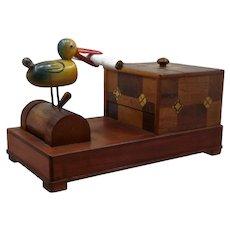 Mechanical Bird Cigarette Dispenser Inlaid Wood Box