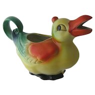 1930s Germany Deco Duck Creamer Pitcher Figural Polychrome Porcelain