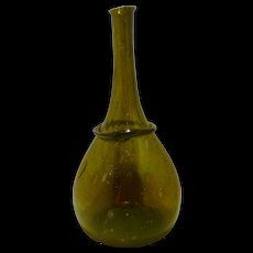 Early 1700s Horse Hoof Style Onion Bottle for Dutch Market Olive Green