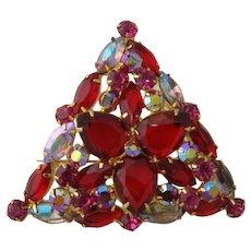 D&E Juliana Triangular Pin Red, Hot Pink, Aurora Borealis