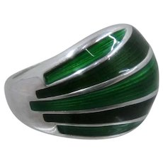 David Anderson Sterling Green Enamel Ring Sz 6 1/2 Adjustable
