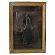 Vintage Metal Easel Frame w/ Sixth Plate Tin Type Victorian Girl