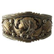 """Navajo Sterling Gold Wash Eagle Cuff Eddie McCarthy 6 1/2"""""""