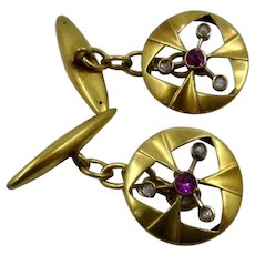 Edwardian 14K Ruby & Rose Cut Diamond Cuff Links