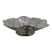 J. Eichert 800 Silver Repousse Reticulated Square Fruit Bowl