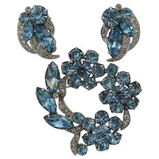Eisenberg Ice Blue & Clear Crystals Pin Earrings Set