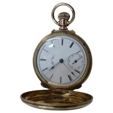 "1886 Elgin 14K Pocket Watch Hunter Case Runs Well 1.5"" Diameter"