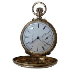 "1886 Elgin 14K Pocket Watch Hunter Case Runs Well 1.5"" Diameter"