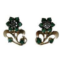 14K Emerald Flower Post Earrings Diamond Center