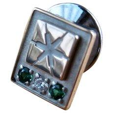 10K W & Y Gold Sapphires Tie Tack Lapel Pin Star Motif
