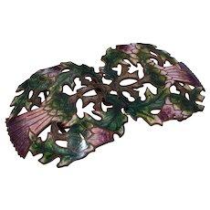 Art Nouveau Champlevé Enamel Buckle Set Thistle Motif
