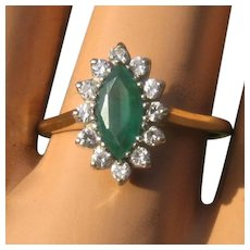 14K Marquise Emerald w/ Diamond Halo Ring 1 TCW Sz 9 1/4