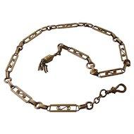 Victorian 14K Watch Chain Fancy Cut Work Links Tassel
