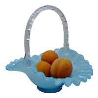 Fenton Turquoise Blue Ruffled Basket Clear Handle