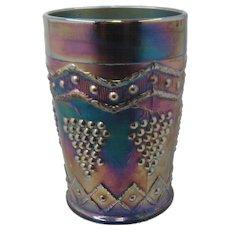 Fenton Carnival Glass Lattice & Grape Tumbler Royal Blue