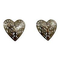 14K Filigree Heart Stud Earrings