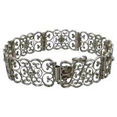 "1930s German 835 Silver Lacy Filigree Link Bracelet 7 1/4"""