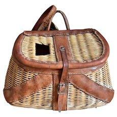 Vintage Wicker Leather Fishing Creel Basket British Hong Kong