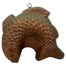 Large Copper Tin Lined Fish Mold 1950s