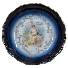 Early 1900s Flow Blue Bowl w/ Woman & Cherubs Gilt 5 7/8""
