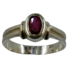 Vintage 10K Gypsy-Set Ruby Spinel Ring Sz 7