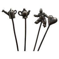 Four Early 1900s Sterling Figural Cocktail Olive Hors d'Oeuvres Picks
