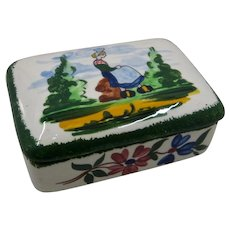 French Peasant Faience Cigarette Trinket Box Quimper or Blue Ridge