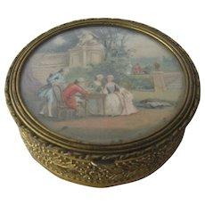 Antique French Gilt Brass Trinket Box w/ Scene Under Glass