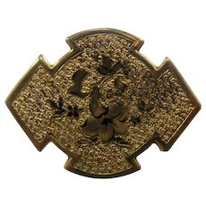 Ca 1880 Gold Fill Enamel Watch Pin Chatelette Taille d'épargne
